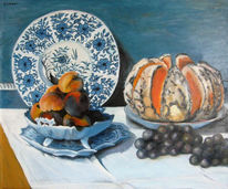 Stillleben, Malerei, Monet, Melone