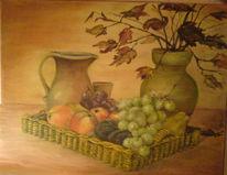 Malerei, Stillleben, Früchte, Laub