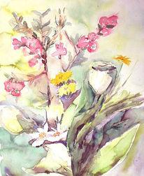 Aquarellmalerei, Strauß, Blumen, Frühling