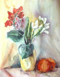 Stillleben, Orange, Aquarellmalerei, Blumen