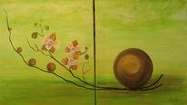 Malerei, Orchidee, Atelier, Grün