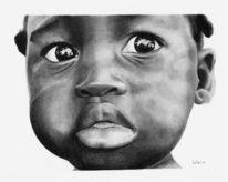 Kind, Krieg, Zeichnung, Afrika