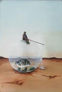 Sand, Fischer, Wüste, Fisch
