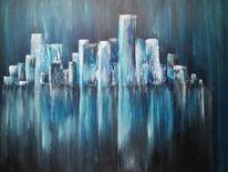 Blau, Spiegelung, Stadt, Wasser