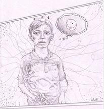 Bleistiftzeichnung, Essen, Junge, Figur