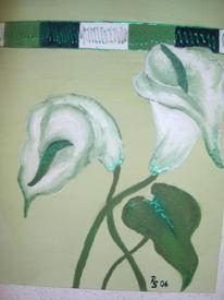 Grün, Calla, Malerei, Weiß