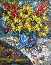 Malerei, Stillleben, Vase, Blau