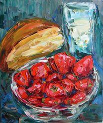 Malerei, Stillleben, Milch, Erdbeeren