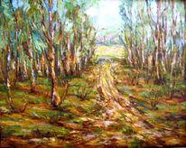 Malerei, Frühling, Waldweg