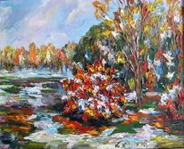 Malerei, Landschaft, Kurz, Schnee