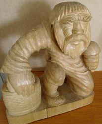 Kunsthandwerk, Holz, Korb, Mann