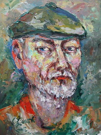Malerei, Portrait, Selbstportrait, Mütze