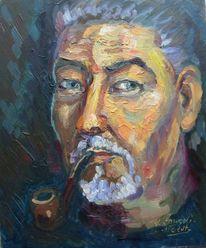 Malerei, Portrait, Pfeife, Selbstportrait