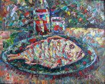 Malerei, Stillleben, Fisch