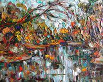 Malerei, Landschaft, Teich