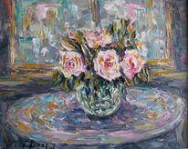 Malerei, Stillleben, Tisch, Fenster