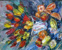 Malerei, Stillleben, Obst, Tulpen