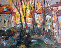 Landschaft, Malerei, Stadt, Untergang
