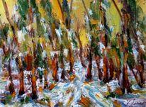 Malerei, Wald, Dezember