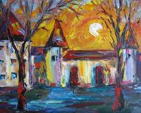 Malerei, Landschaft, Sonne, Schloss