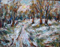 Malerei, Landschaft, Winterlich, Kalt