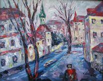 Landschaft, Malerei, Wintertag, Stadt