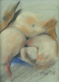 Sitzen, Akt, Pastellmalerei, Knie