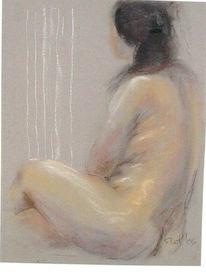 Licht, Pastellmalerei, Akt, Sitzen