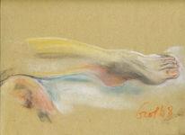 Pastellmalerei, Fuß, Ruhend, Akt