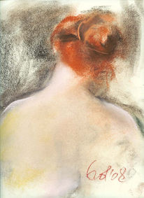 Pastellmalerei, Haare, Rot, Licht