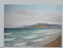 Pastellmalerei, Landschaft, Küste, Welle