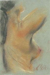 Akt, Pastellmalerei, Bewegung