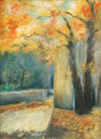 Landschaft, Ahorn, Pastellmalerei, Herbst