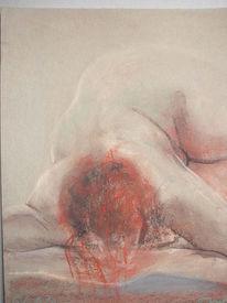 Liegend, Pastellmalerei, Rotes haar, Akt