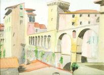 Reise, Architektur, Aquarellmalerei, Toskana