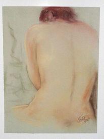 Rückenakt, Pastellmalerei, Rothaarig, Zart