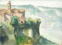 Landschaft, Reise, Toskana, Skizze