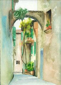Toskana, Aquarellmalerei, Skizze, Landschaft