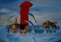 Gemälde, Malerei, Blau, Wasser