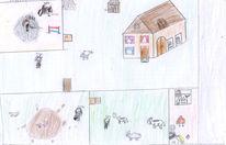 Bauernhof, Malen, Tiere, Buntstiftzeichnung
