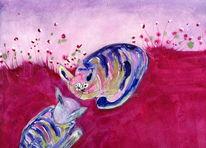 Katze, Nacht, Grau, Malerei