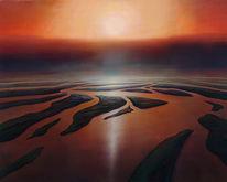 Ölmalerei, Flußdelta, Sonnenuntergang, Meer