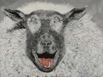 Ente, Acrylmalerei, Lachen, Schwarz weiß