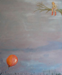 Ölmalerei, Mädchen, Fliegen, Warten