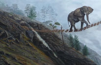 Baum, Nebel, Abschied, Elefant