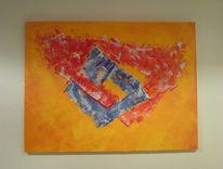 Malerei, Rot, Abstrakt, Gelb