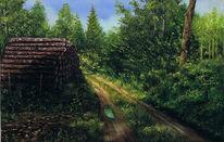 Malerei, Landschaft, Regen, Waldweg