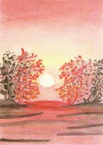 Gelb, Aquarellmalerei, Baum, Himmel