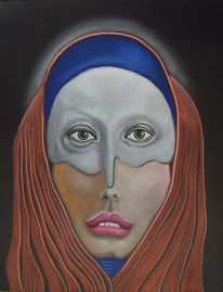 Pastellmalerei, Hochformat, Frau, Mann