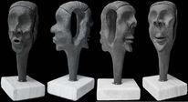 Modelliert, Keramik, Gesicht, Plastik